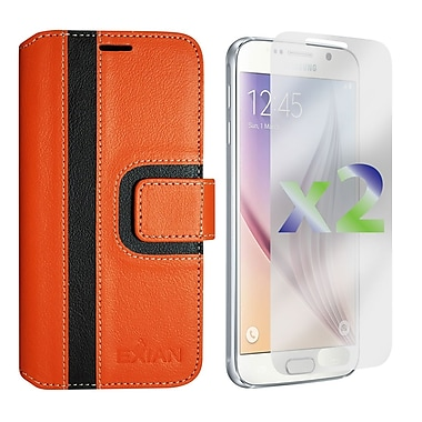 Exian Case for Galaxy S6, Wallet Striped Pattern, Orange and Black