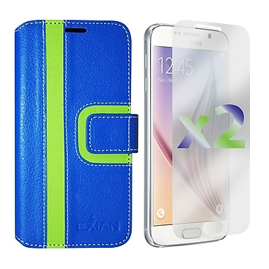 Exian Case for Galaxy S6, Wallet Striped Pattern, Blue and Green