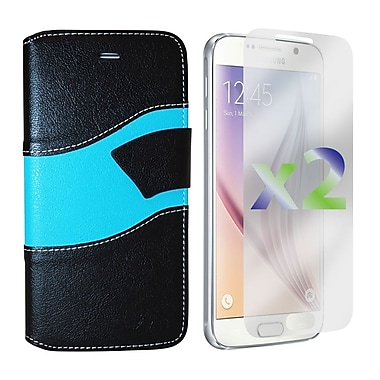 Exian Case for Galaxy S6, Wallet Wave Pattern, Black and Blue
