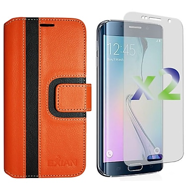 Exian Case for S6 Edge Wallet Striped Pattern, Orange and Black