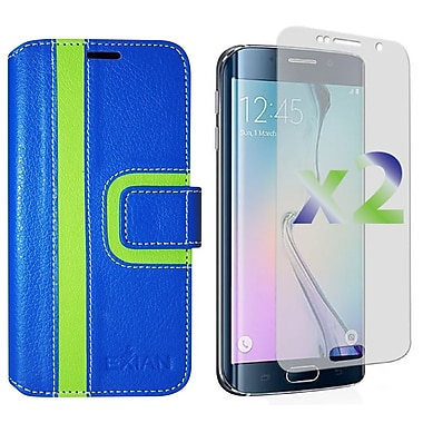 Exian Case for S6 Edge Wallet Striped Pattern, Blue and Green
