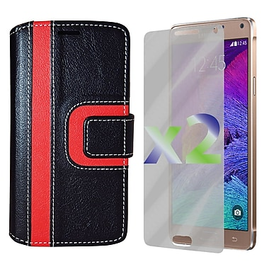 Exian Case for Note 4 Wallet Striped Pattern, Black and Red