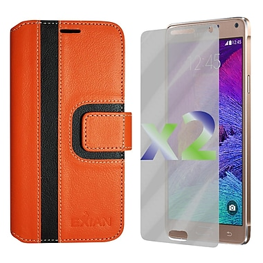 Exian Case for Note 4 Wallet Striped Pattern, Orange and Black