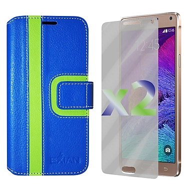 Exian Case for Note 4 Wallet Striped Pattern, Blue and Green