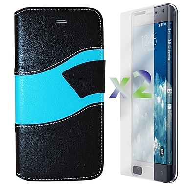 Exian Case for Note Edge Wallet Wave Pattern, Black and Blue