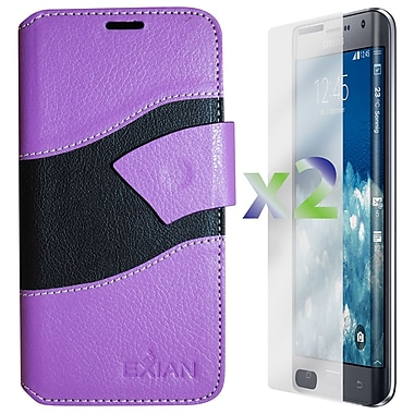 Exian Case for Note Edge Wallet Wave Pattern, Purple and Black