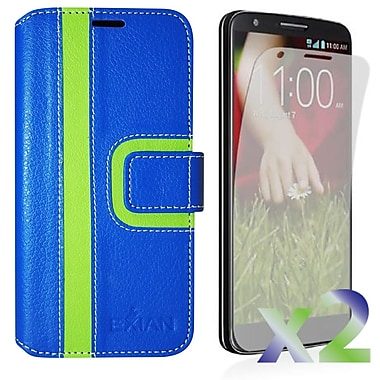 Exian Case for LG G3 Wallet Striped Pattern, Blue and Green
