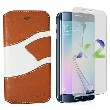 Exian Case for LG G3 Wallet Wave Pattern, Beige and White