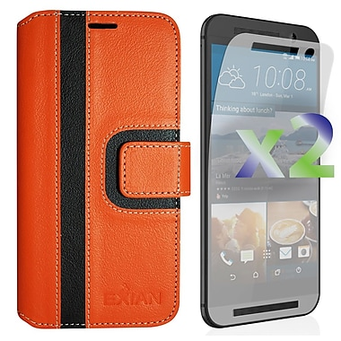 Exian Case for HTC One M9, Wallet Striped Pattern, Orange and Black