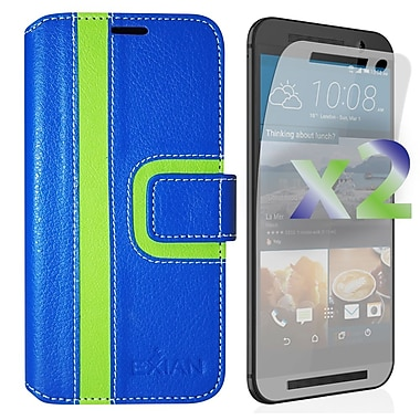 Exian Case for HTC One M9, Wallet Striped Pattern, Blue and Green