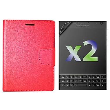 Exian Case for Blackberry Passport Wallet, Red