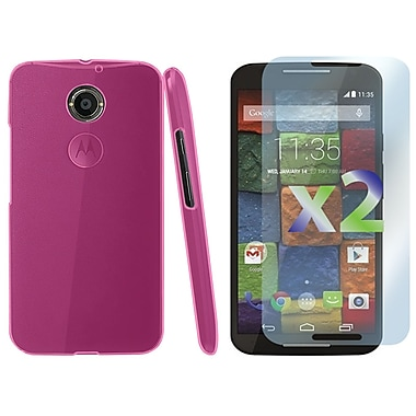 Exian Case for MOTO X2, Transparent Pink