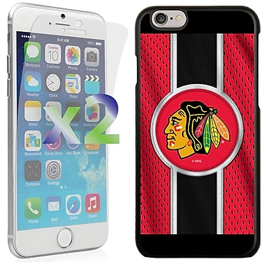 Exian NHL Case for iPhone 6 and Screen Protector, 2 Pieces, Chicago, Blackhawks