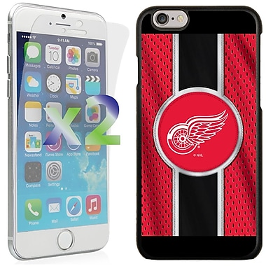Exian NHL Case for iPhone 6 and Screen Protector, 2 Pieces, Detroit Red Wings