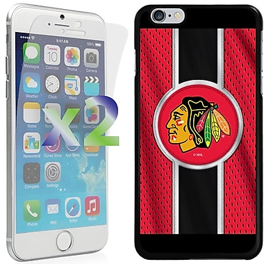 Exian NHL Case for iPhone 6 Plus and Screen Protector, 2 Pieces, Chicago, Blackhawks