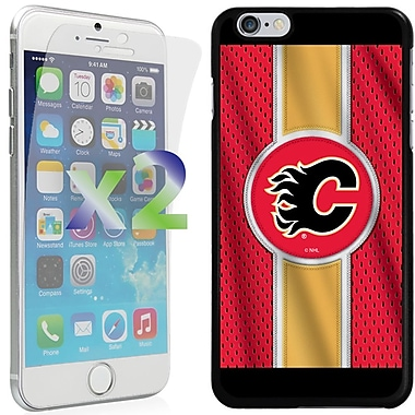 Exian NHL Case for iPhone 6 Plus and Screen Protector, 2 Pieces, Calgary Flames