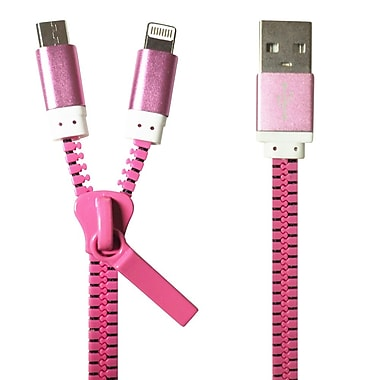 Exian Lightning/Micro USB 2 in 1 Zipper Cable, Pink