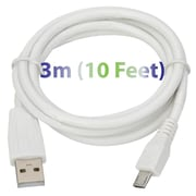 Exian Micro USB Thick Cable, 3 Meter, White