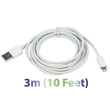 Exian - Câble Lightning USB épais, 3 m, blanc