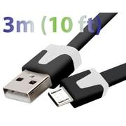 Exian - Câble plat micro USB, 3 m, noir
