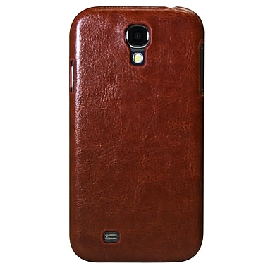 Exian Case for Galaxy S4 Leather, Synthetic Leather Brown