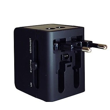 Exian Universal Converter/Adapter 100-240Vac 50/60Hz 6A/2100mAh 5V with 2 USB Ports, Black