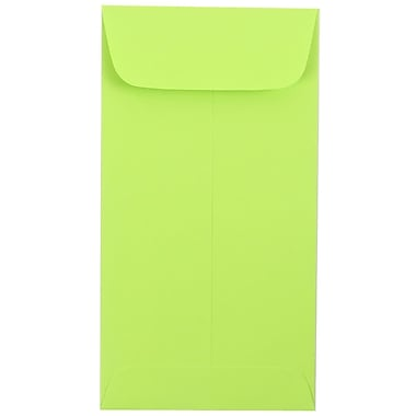 JAM Paper® #7 Coin Envelopes, 6.5 x 3.5, Brite Hue Ultra Lime Green, 100/Pack (1526752g)
