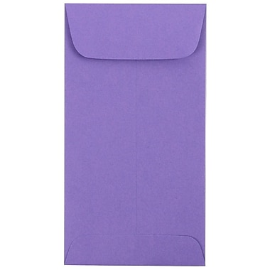JAM Paper® #7 Coin Envelopes, 6.5 x 3.5, Brite Hue Violet Purple, 100/Pack (1526758g)