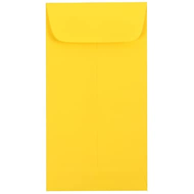 JAM Paper® #7 Coin Envelopes, 3.5 x 6.5, Brite Hue Yellow, 100/Pack (1526761g)