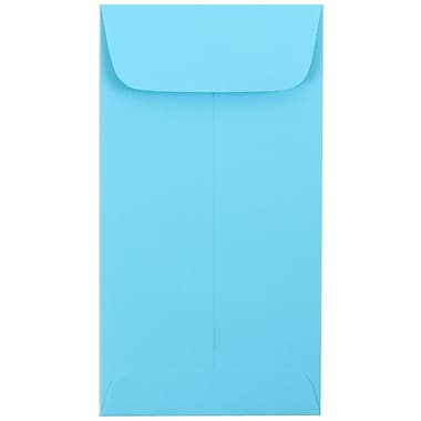 JAM Paper® #7 Coin Envelopes, 6.5 x 3.5, Brite Hue Blue Recycled, 100/Pack (1526764g)