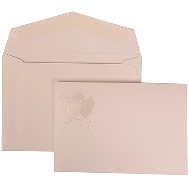JAM Paper® Wedding Invitation Set, Small, 3.38 x 4.75, White with White Envelopes and Ivory Hearts Fanfold, 100/Pack (9024993)