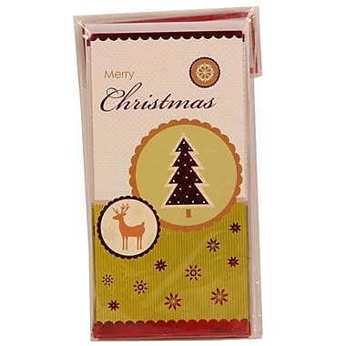 JAM Paper® Christmas Money Cards Set, Merry Christmas Reindeer and Christmas Tree, 24/Pack (95224270g)