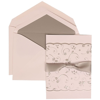 JAM Paper® Wedding Invite Set, Large, 5.5 x 7.75, White Cards, Silver Rose Ribbon, Silver Lined Envelopes, 50/pack (302924679)