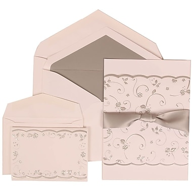 JAM Paper® Wedding Invitation Combo, 1 Sm 1 Lg, White Cards, Silver Rose, Ribbon, Silver Lined Envelope, 150/pack (302924680)