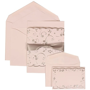 JAM Paper® Wedding Invitation Combo Sets, 1 Sm 1 Lg, White Cards, Silver Rose Ribbon, White Envelopes, 150/Pack (302924682)