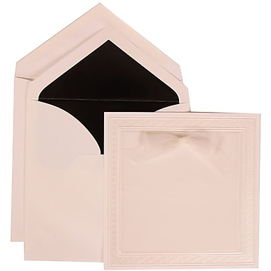 JAM Paper® Wedding Invitation Set, Large, 7 x 7, White with Black Lined Envelopes and White Border Bow, 50/Pack (303125295)