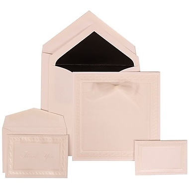 JAM Paper® Wedding Invitation Combo Sets, 1 Sm 1 Lg, White Cards, White Border, Bow, Black Lined Envelopes, 150/Pack (303125298)