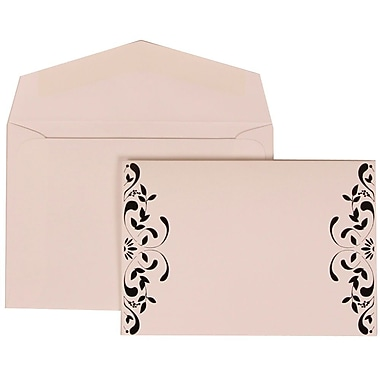 JAM Paper® Wedding Invitation Set, Small, 3.38 x 4.75, White with White Envelopes and Monogram Ribbon, 100/Pack (303224687)