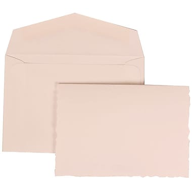 JAM Paper® Wedding Invitation Set, Small, 3.38 x 4.75, White Cards with Uneven Edge, White Envelopes, 100/Pack (303324737)