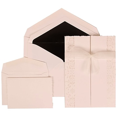 JAM Paper® Wedding Invitation Combo Sets, 1 Sm 1 Lg, White Cards, White Ribbon, Black Lined Envelopes, 150/Pack (303324738)