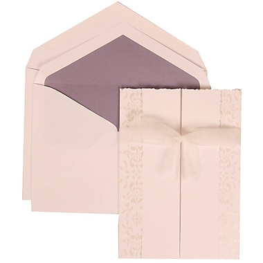 JAM Paper® Wedding Invitation Set, Large, 5.5 x 7.75, White Cards, Ivory Ribbon, Purple Lined Envelopes, 50/Pack (303324741)