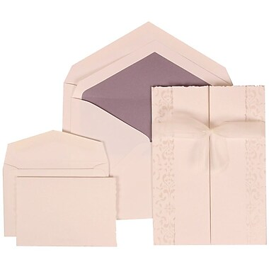 JAM Paper® Wedding Invitation Combo Sets, 1 Sm 1 Lg, White, Ivory Castilian Ribbon, Purple Lined Envelopes, 150/Pack (303324742)