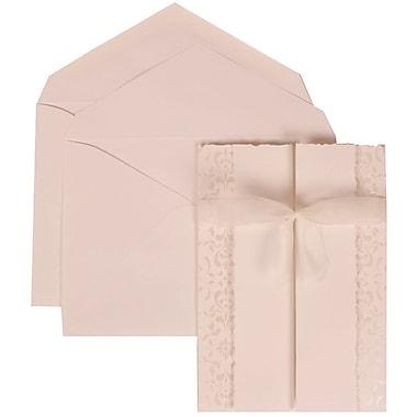 JAM Paper® Wedding Invitation Set, Large, 5.5 x 7.75, White with White Envelopes and Ivory Castilian Ribbon, 50/Pack (303324743)