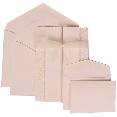 JAM Paper® Wedding Invitation Combo Sets, 1 Sm 1 Lg, White Cards, Ivory Castilian Ribbon, White Envelopes, 150/Pack (303324744)