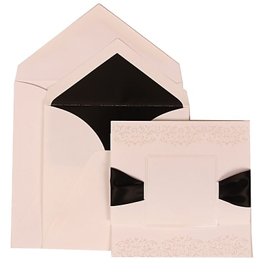 JAM Paper® Wedding Invitation Set, Large, 5.5 x 7.75, White with Black Lined Envelopes and Black Ribbon, 50/Pack (303524836)