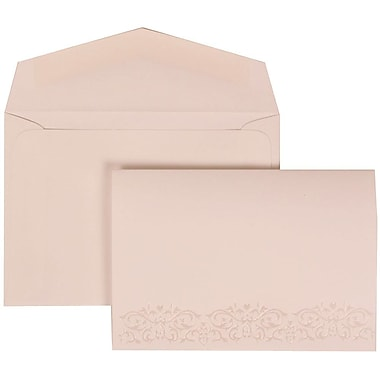 JAM Paper® Wedding Invitation Set, Small, 3.38 x 4.75, White with White Envelopes Black Ribbon, 100/Pack (303524837)