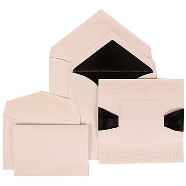 JAM Paper® Wedding Invitation Combo Sets, 1 Sm 1 Lg, White Cards, Black Ribbon, Black Lined Envelopes, 150/Pack (303524838)