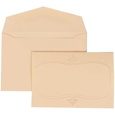 JAM Paper® Wedding Invitation Set, Small, 3.38 x 4.75, Ivory Cards with Monogram Design, Ivory Envelopes, 100/Pack (303624858)