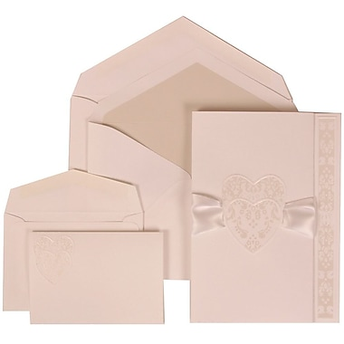 JAM Paper® Wedding Invitation Combo, 1 Sm 1 Lg, White Cards with Hearts, Ribbon, Crystal Lined Envelope, 150/pack (303724997)