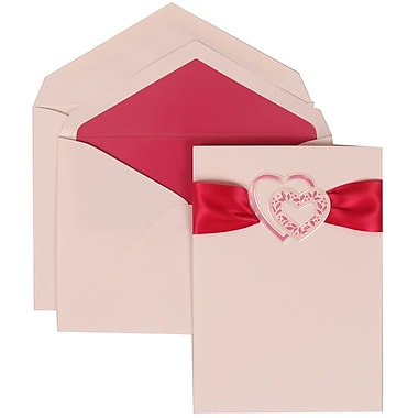JAM Paper® Wedding Invitation Set, Large, 5.5 x 7.75, White with Pink Lined Envelopes and Pink Hear Ribbon, 50/Pack (303824899)